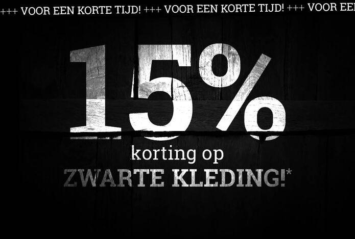 15% korting op ZWARTE KLEDING!*