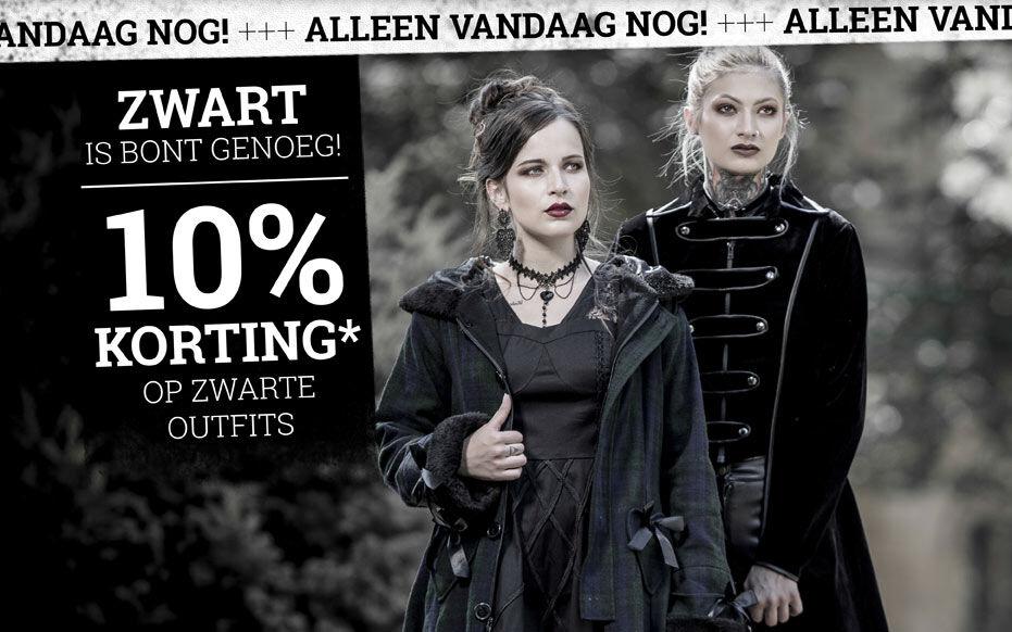 10% korting* op zwarte outfits