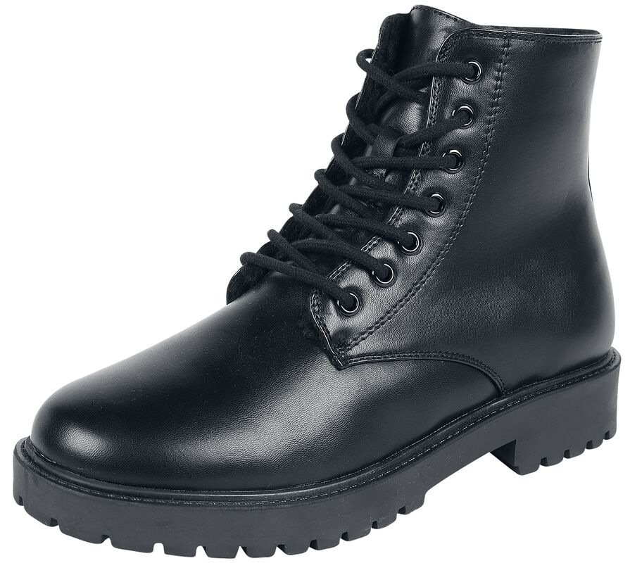 Black Lined Lace-Up Boots