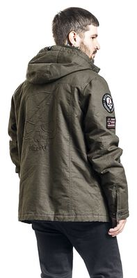 Olive Winter Jacket with Embroidery and Patches
