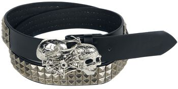 Three-Row Belt with Pyramid Studs and Buckle