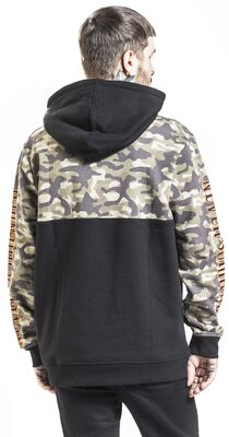 Black hoodie with camouflage pattern and coloured contrasts