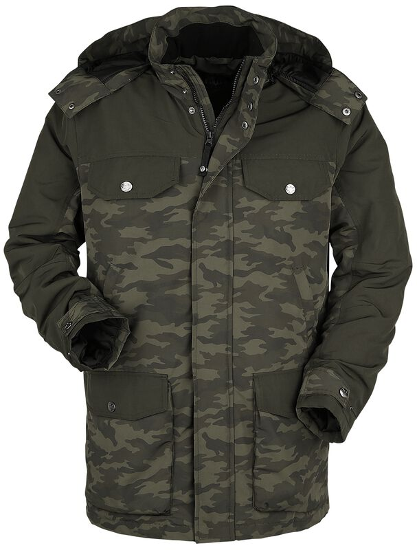 Olive Parka with Multiple Pockets and Camouflage Pattern
