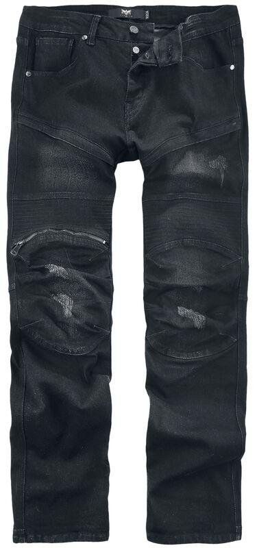 Pete Black Biker-Look Jeans