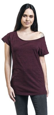 Purple T-shirt in melange-look