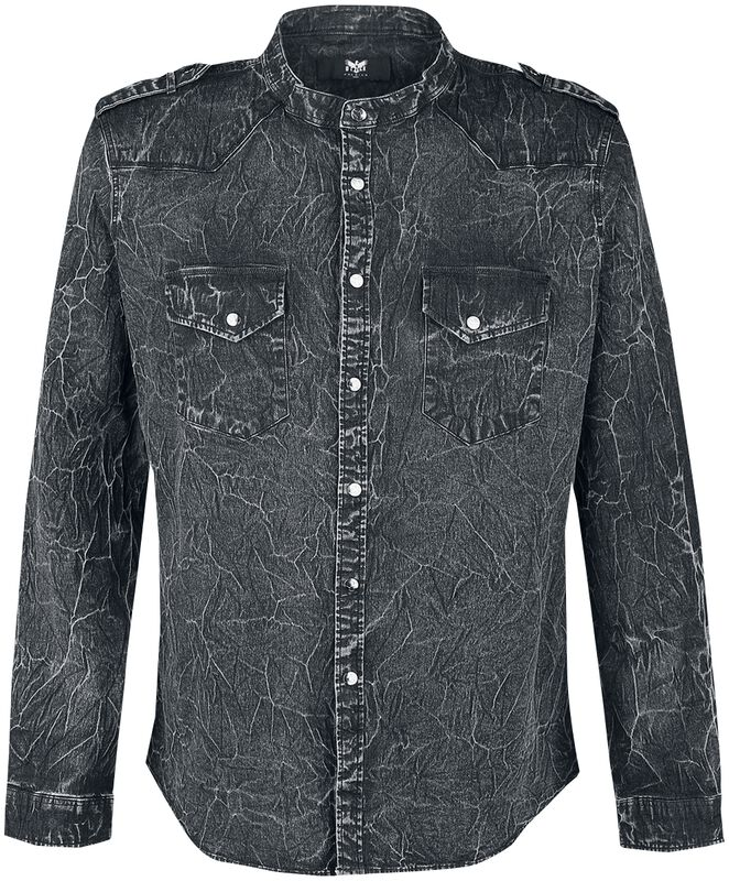 Dark Grey Shirt with Wash and Shoulder Tabs