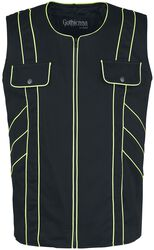 Black Vest with Neon Seams and Chest Pockets