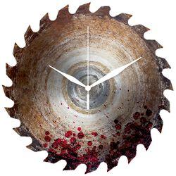 Glazen Wandklok Saw Blade With Blood