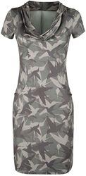 Olivfarbenes Kleid mit Vogel-Muster und Wasserfallkragen
