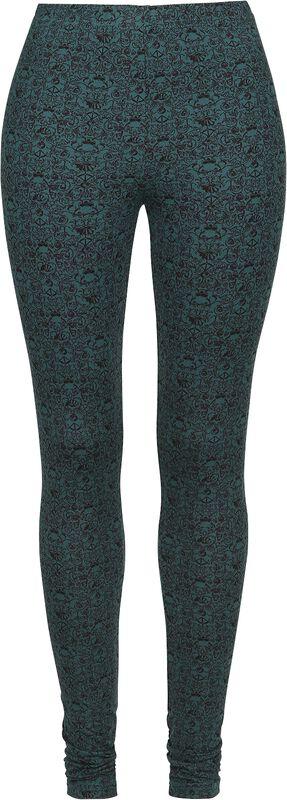 Turquoise Leggings with Ornate Skull Pattern