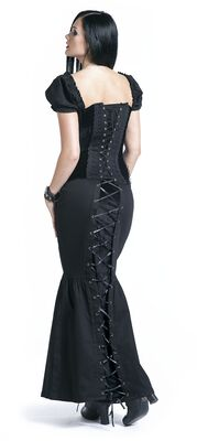 Black Mermaid Style Maxi Skirt with Lacing