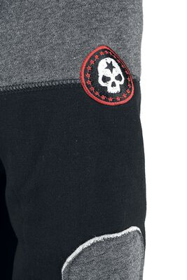 Hooded zip with prints and embroidery
