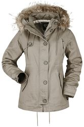 Khaki Parka with Faux Fur Collar and Decorative Stitching
