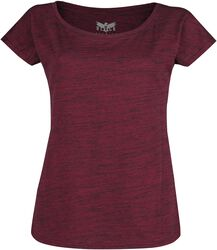 Red T-shirt in melange-look