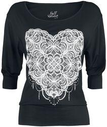 schwarzes Langarmshirt mit Print und weitem Ausschnitt
