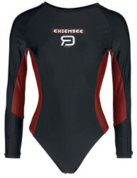 RED X CHIEMSEE - Black Swimsuit with Logo Print