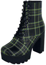 Zwarte boots  met plateauzool en geruit patroon
