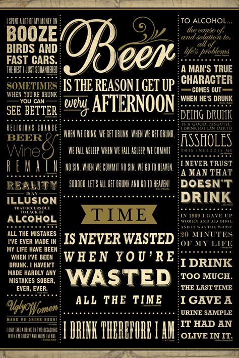Drinking Quotes Poster Large