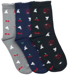 Cherry Logos & Cats 3 Pack Socks