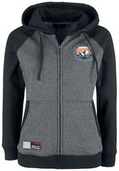 Black/Grey Hooded Jacket with Back Print