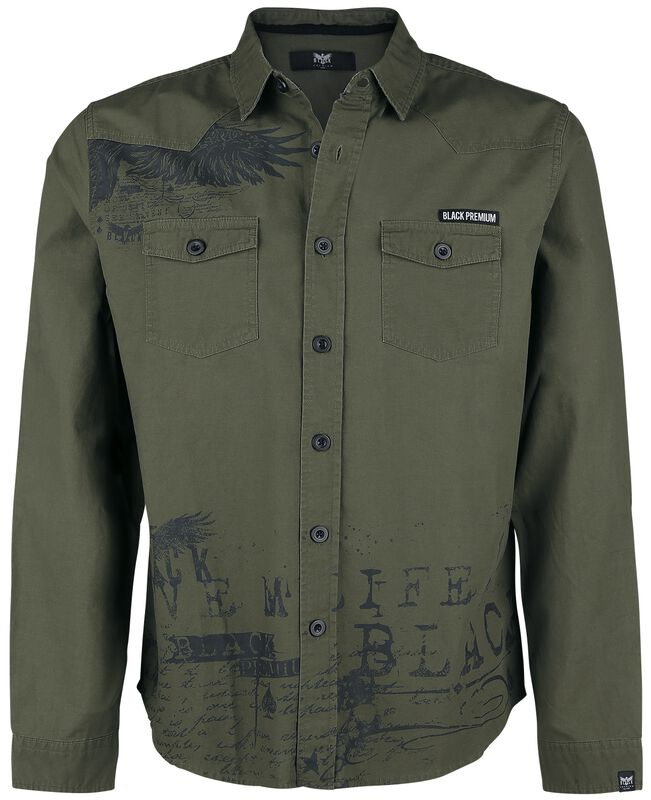 Olive Shirt with Print and Chest Pockets