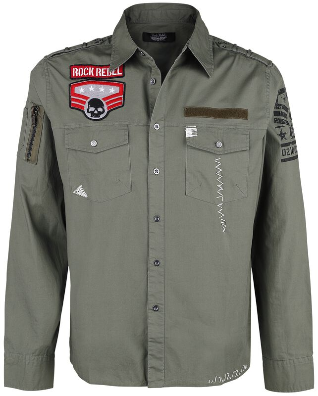 Green Army Shirt with Patches and Chest Pockets