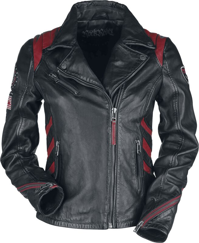 Black/Red Leather Jacket in Biker Style with Patches