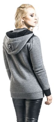 Knitted hooded jacket with fleece lining