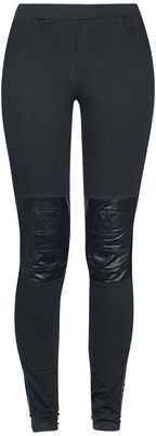 Leggings with Imitation Leather Application