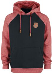 Black/Red Hooded Jumper with Raglan Sleeves