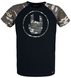 Black T-shirt with Camouflage Rockhand Print