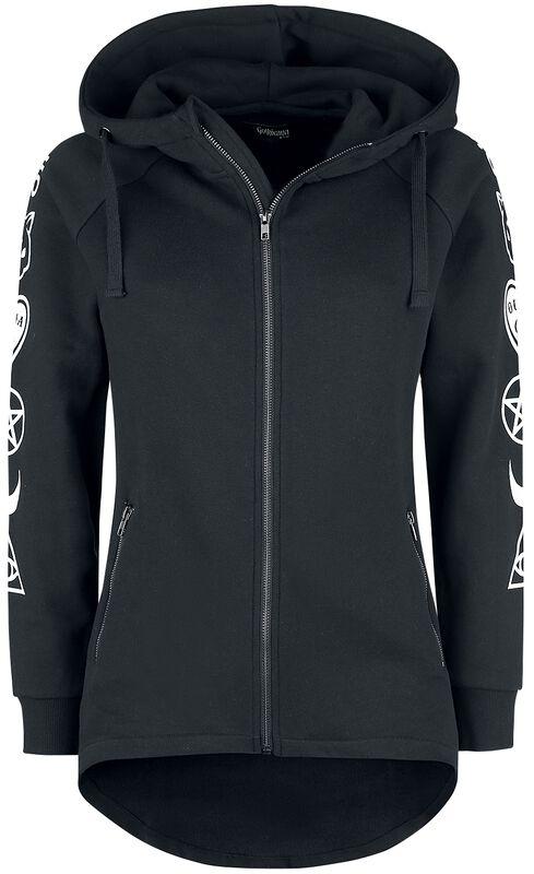 Black Hooded Jacket with Sleeve Print