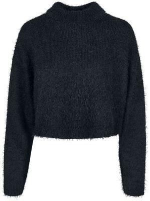 Ladies Oversized Turtleneck Feather Sweater
