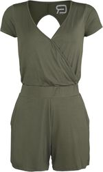 Short Olive Jumpsuit with Cut-Out Back