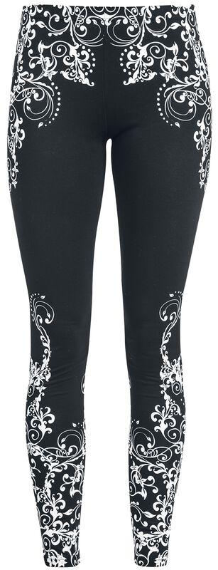 Black leggings with detailed print