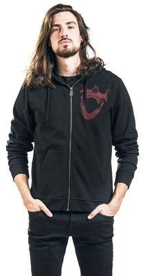 Black hooded zip with prints