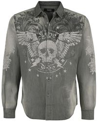 Grey Denim Jacket with Print and Wash