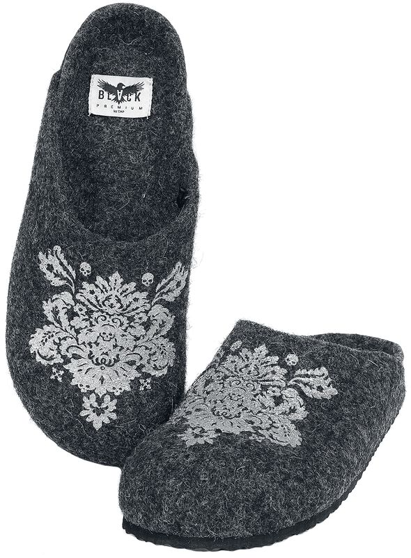 Grey Slippers with Ornamental Print