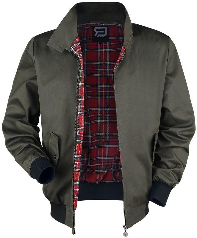 Khaki Between-Seasons Jacket with Standing Collar