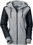Ladies Diamond Leather Imitation Sleeve Zip Hoodie