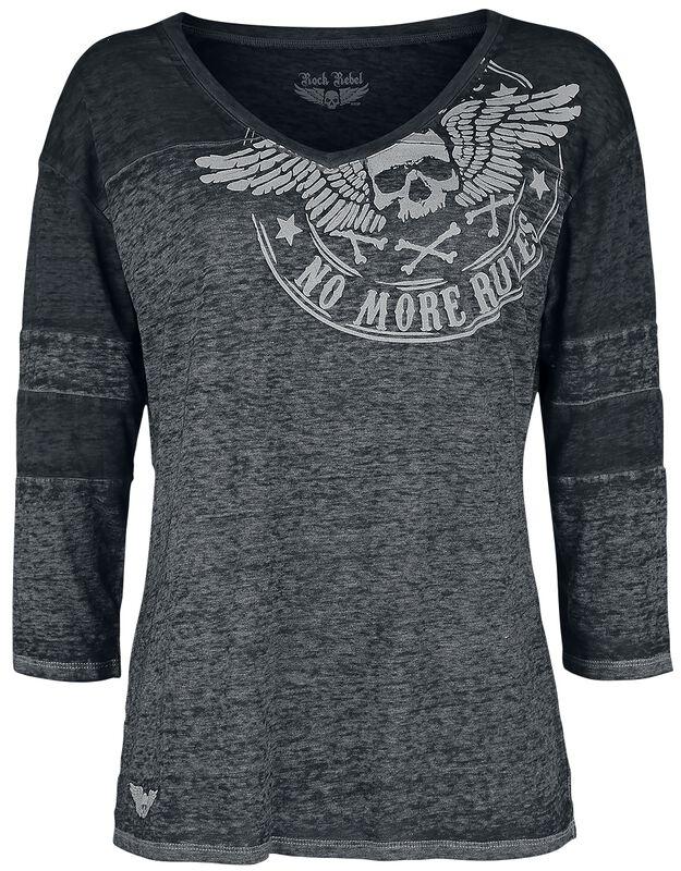 Grey melange long sleeve shirt with print