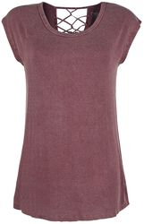Bordeaux red T-shirt with decorative ribbons on the back