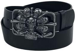 Schwarzer Gürtel mit extravaganter Skull-Schnalle