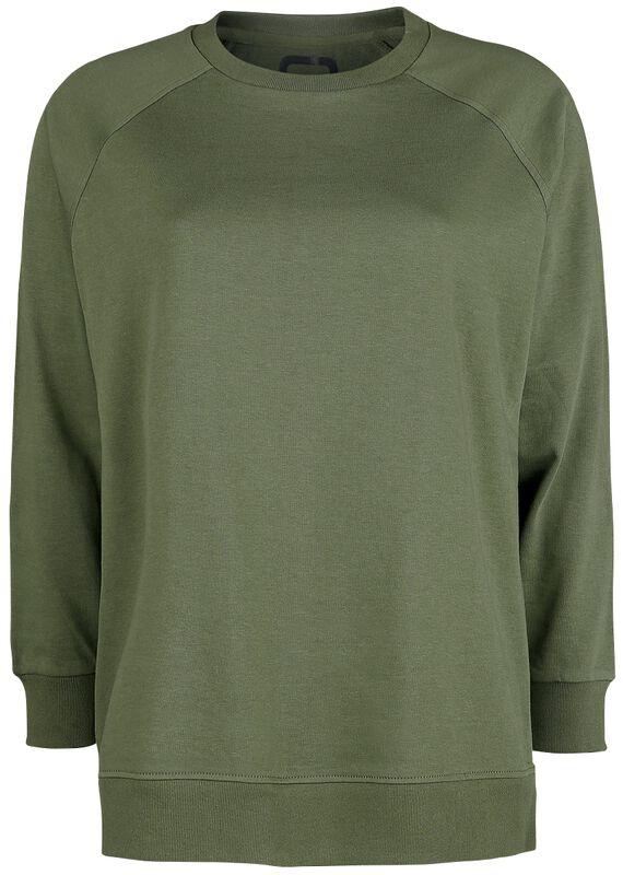 Olivfarbenes lässiges Sweatshirt mit Reißverschlüssen