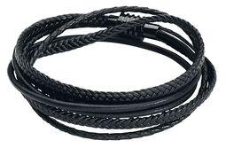 Black Trio Braided Leather Bracelet