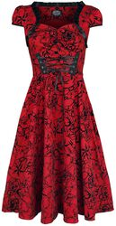 Red Flocked Victorian Dress