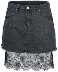 Denim Skirt With Lace