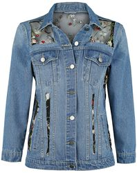 Embroidered Denim Jacket with Mesh Inserts