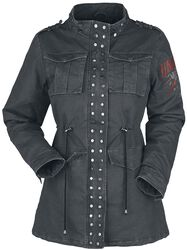 Dark Grey Jackets with Studs and Print