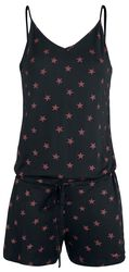 Short Black Jumpsuit with Red Stars